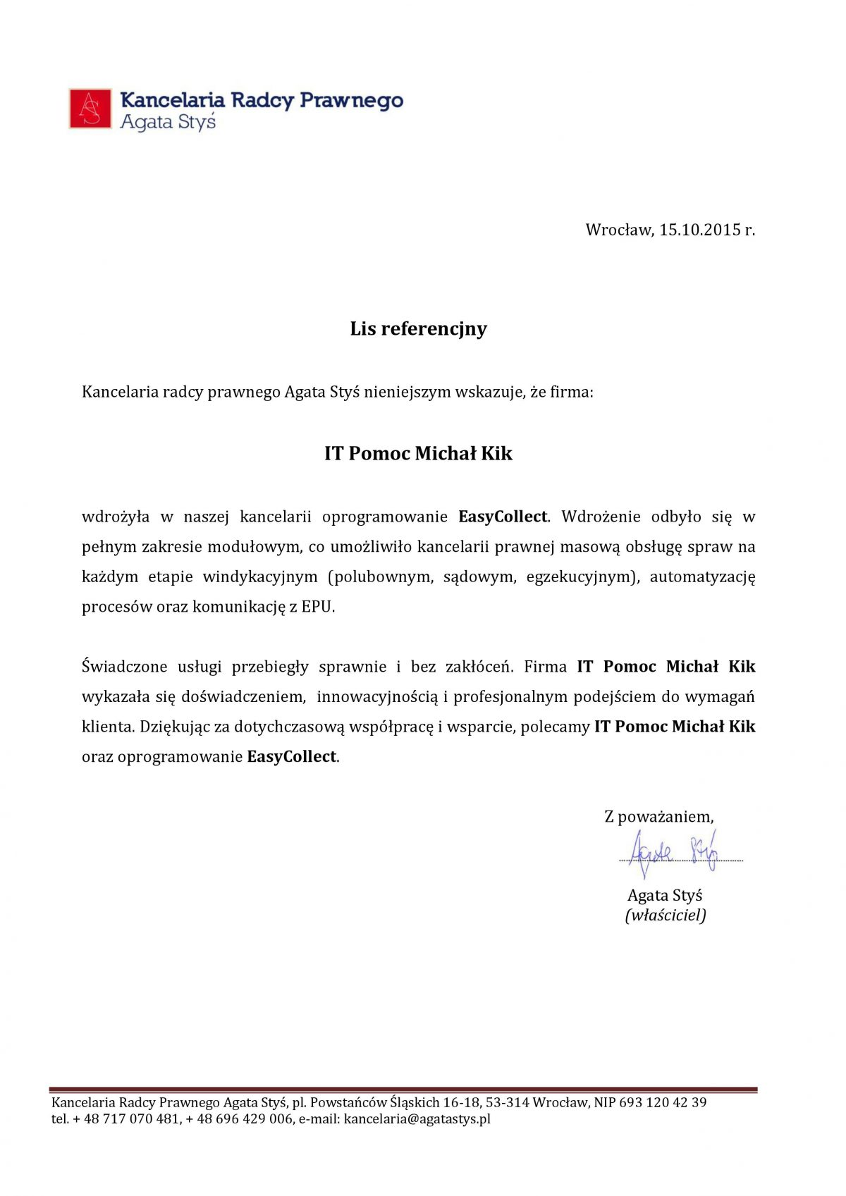 Kancelaria Radcy Prawnego Agata Styś